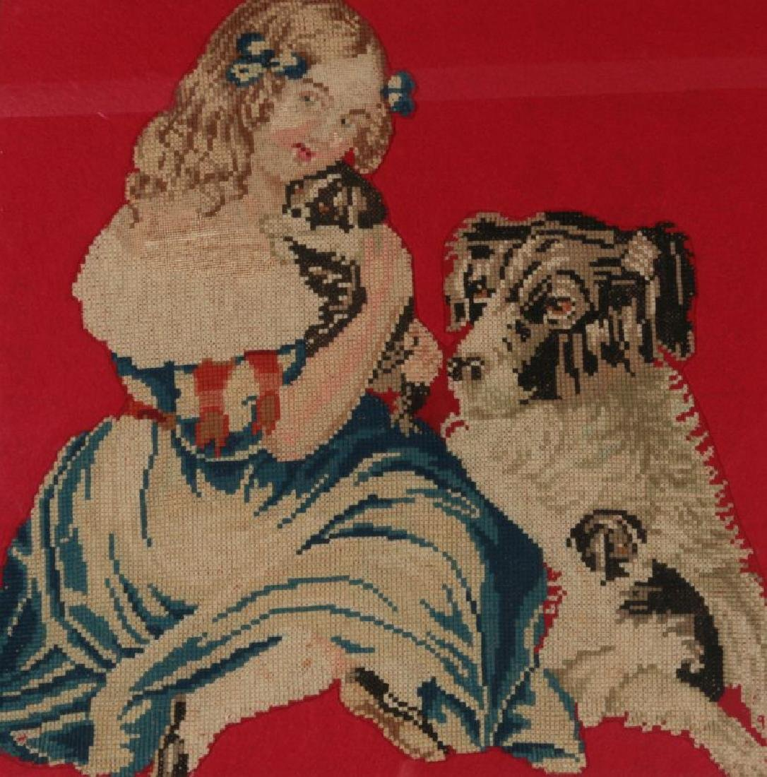 A 19TH CENT NEEDLEWORK PICTURE OF GIRL WITH PUPPY