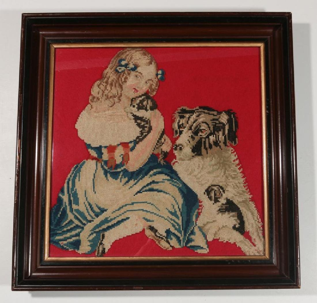 A 19TH CENT NEEDLEWORK PICTURE OF GIRL WITH PUPPY - 2
