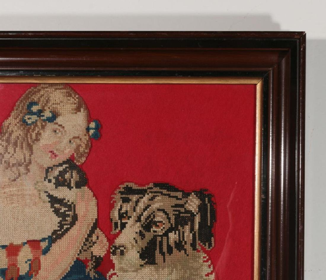 A 19TH CENT NEEDLEWORK PICTURE OF GIRL WITH PUPPY - 4