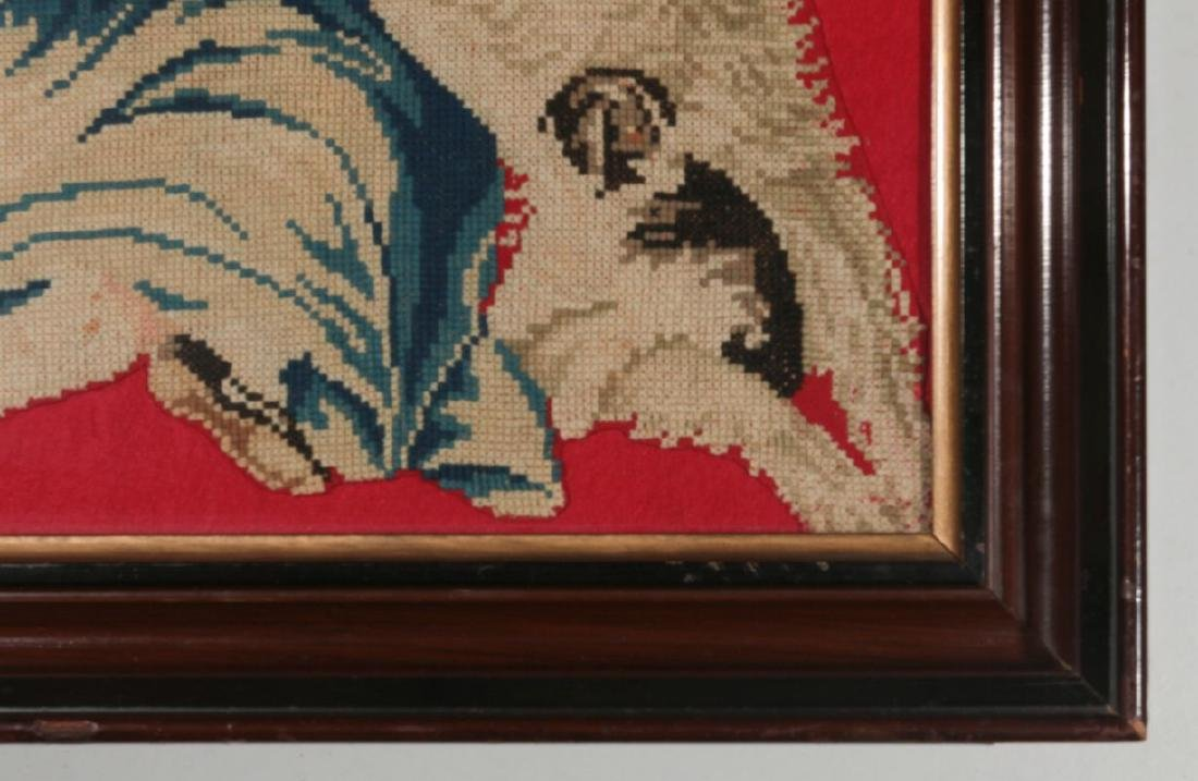 A 19TH CENT NEEDLEWORK PICTURE OF GIRL WITH PUPPY - 5