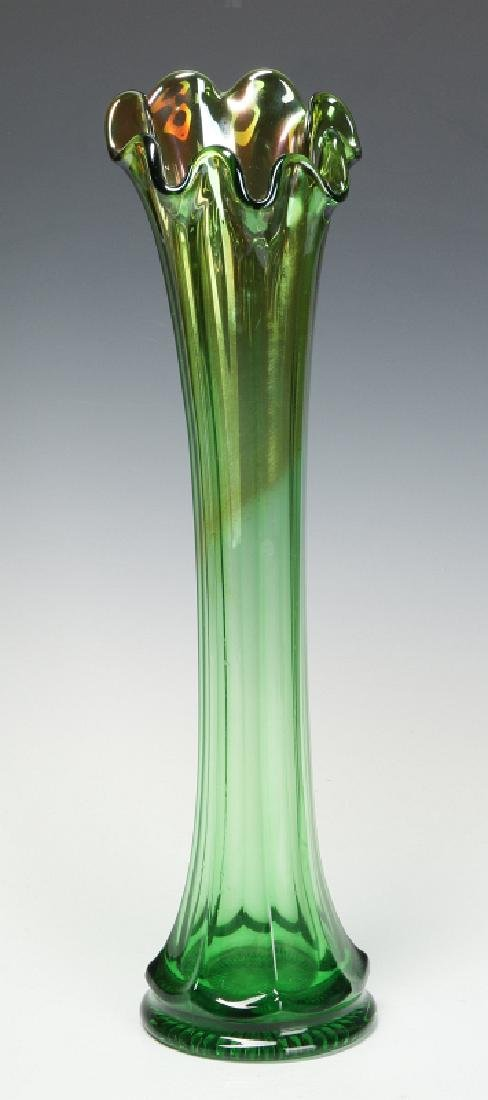 NORTHWOOD 17INCH GREEN CARNIVAL SWUNG FUNERAL VASE