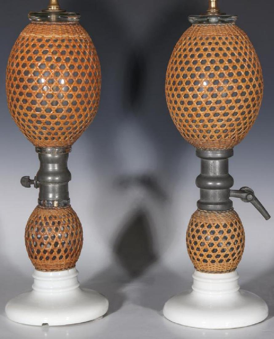 A PAIR EARLY 20TH C. FRENCH SODA BOTTLES AS LAMPS - 10