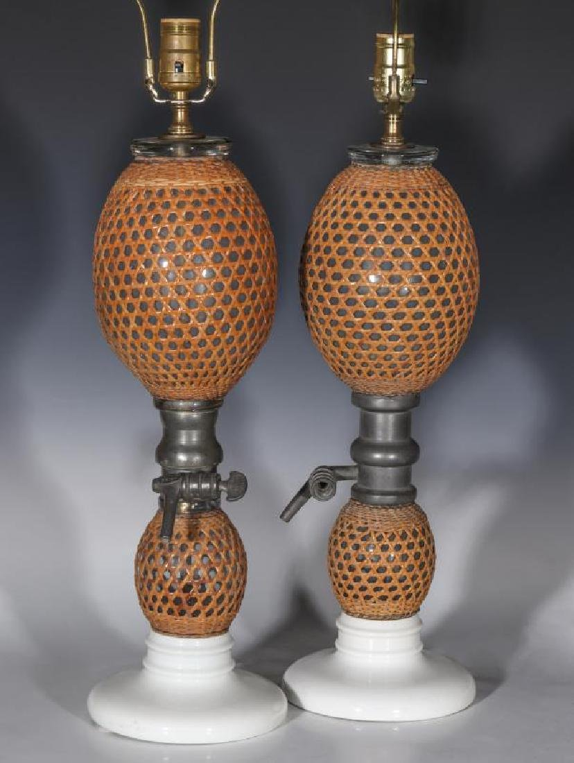 A PAIR EARLY 20TH C. FRENCH SODA BOTTLES AS LAMPS