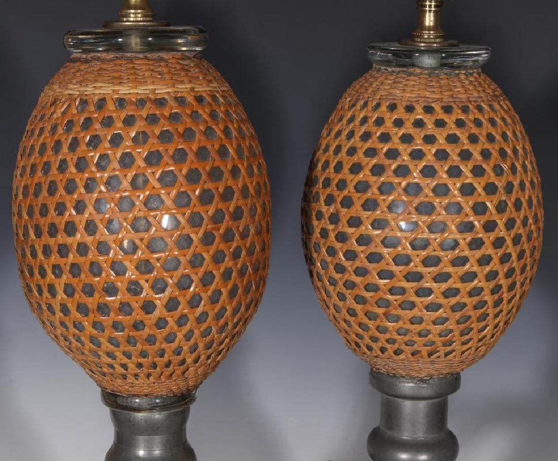 A PAIR EARLY 20TH C. FRENCH SODA BOTTLES AS LAMPS - 4