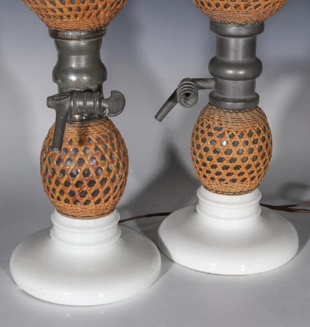 A PAIR EARLY 20TH C. FRENCH SODA BOTTLES AS LAMPS - 5