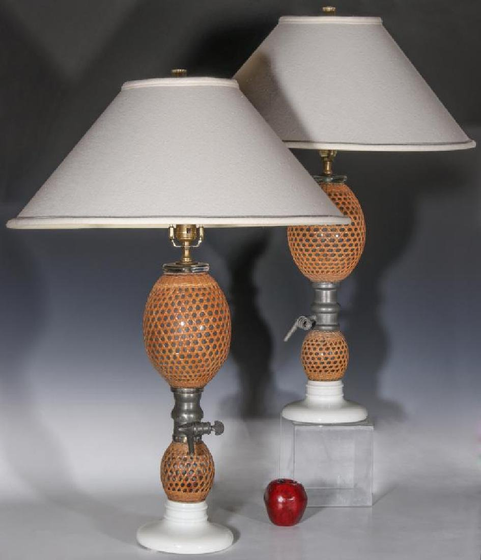 A PAIR EARLY 20TH C. FRENCH SODA BOTTLES AS LAMPS - 7