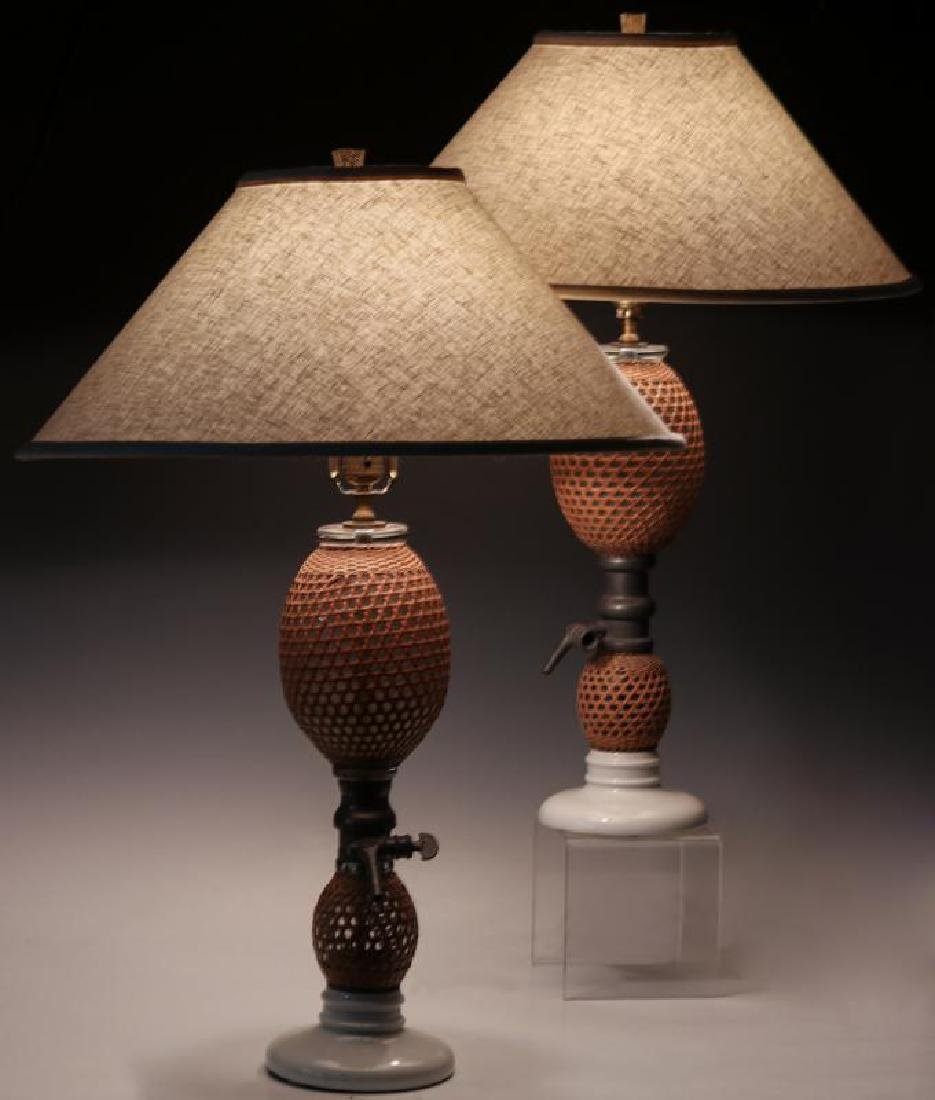 A PAIR EARLY 20TH C. FRENCH SODA BOTTLES AS LAMPS - 8