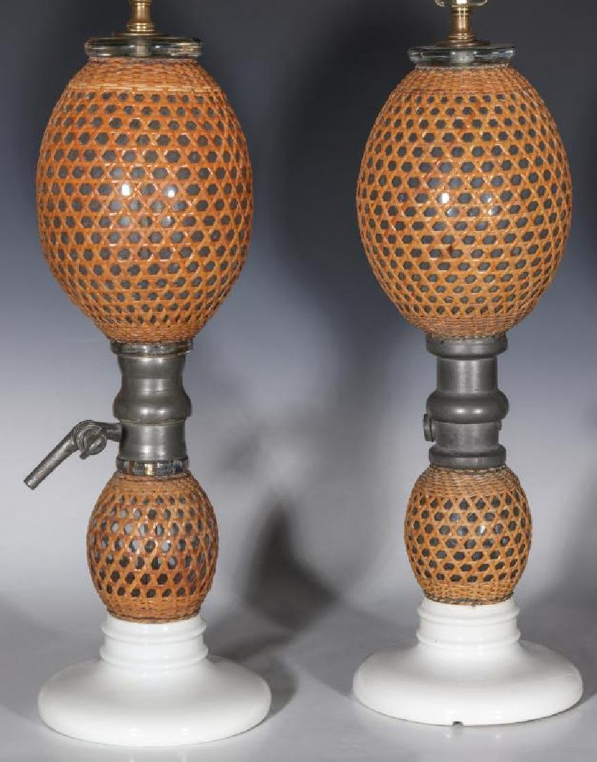 A PAIR EARLY 20TH C. FRENCH SODA BOTTLES AS LAMPS - 9