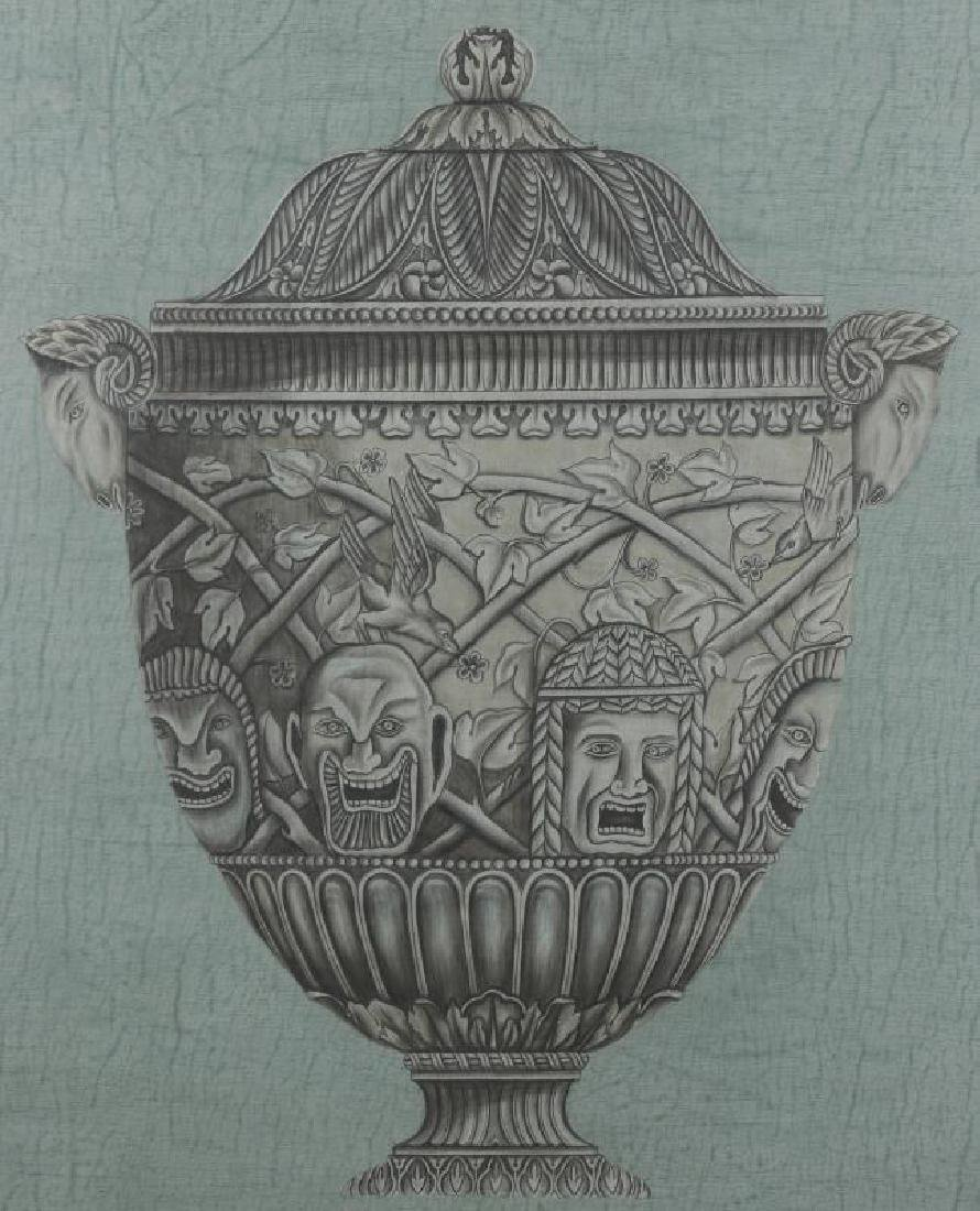 20TH C PAINTING OF ARCHITECTURAL URN AFTR PIRANESI