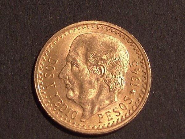 3: MEXICAN PESO GOLD COIN DATED 1945
