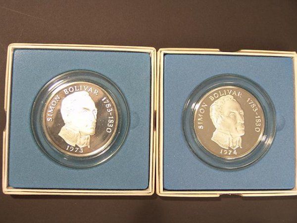 17: 2 FRANKLIN MINT STERLING SILVER  20 BALBOAS COINS
