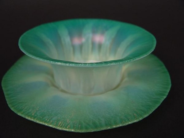396: SIGNED TIFFANY FAVRILE PASTEL BOWL & UNDERPLATE