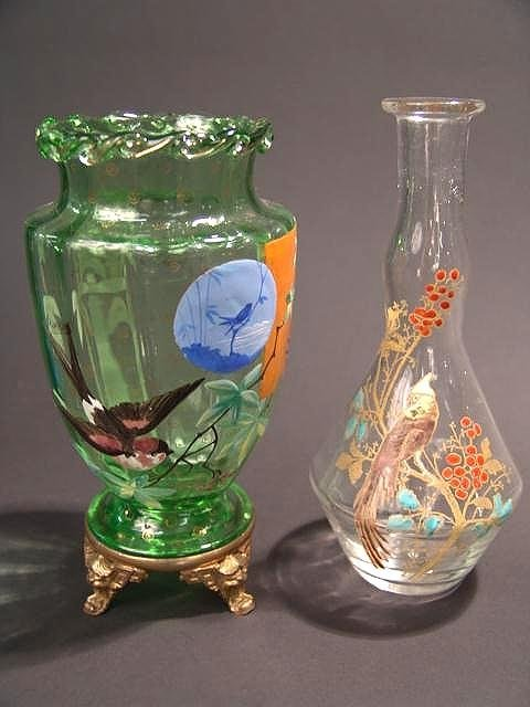 472: EARLY SIGNED GALLE' ENAMELED VASE PLUS ANOTHER