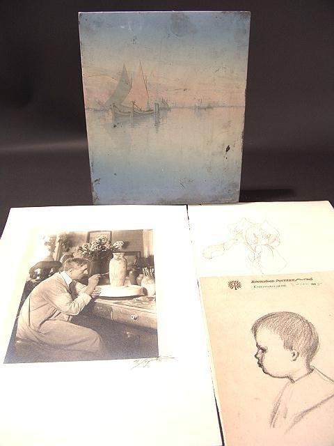 584A: C.SCHMIDT ROOKWOOD PLAQUE, ARTWORK, & ESTATE PAPE