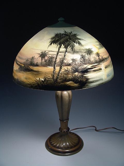 609: BEAUTIFUL SIGNED JEFFERSON REVERSE PAINTED LAMP