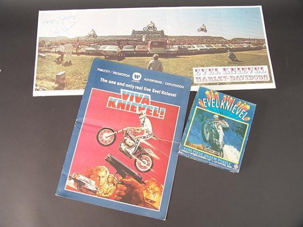 1200A: LOT OF EVEL KNIEVEL POSTERS & MEMORABILIA