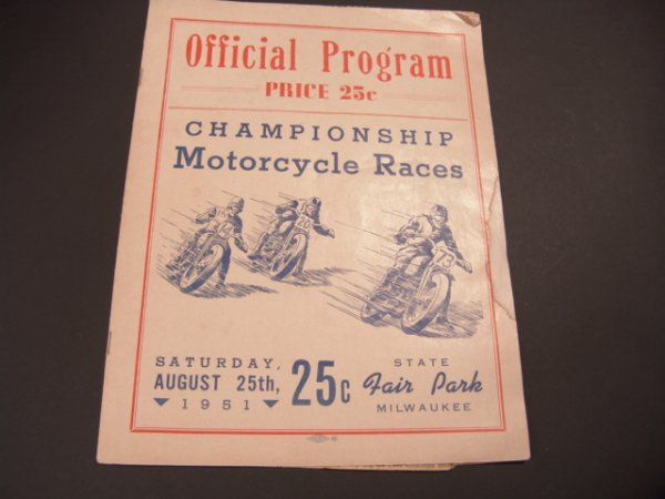 1325: 1951 PROGRAM BOOKLET FOR MOTORCYCLE RACES