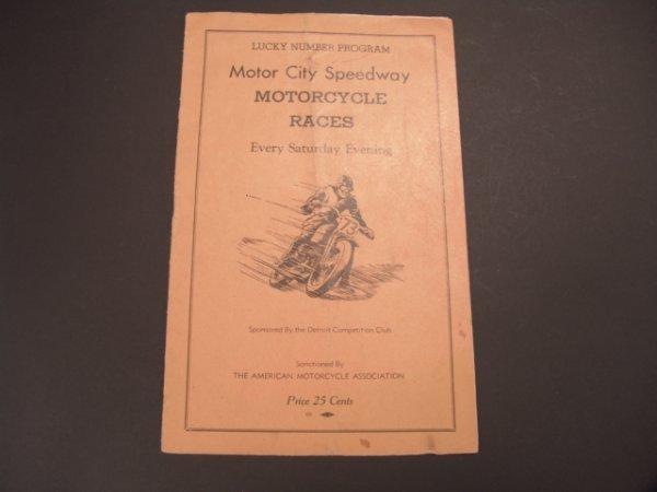 1327: 1958 MOTORCYCLE RACES PROGRAM, DETROIT