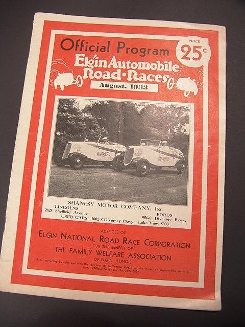 1333: 1933 OFFICIAL PROGRAM FOR ELGIN AUTO RACES, ILLIN