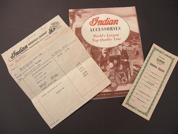 1342: VINTAGE LOT OF INDIAN MOTORCYCLE ACCESSORIES BOOK