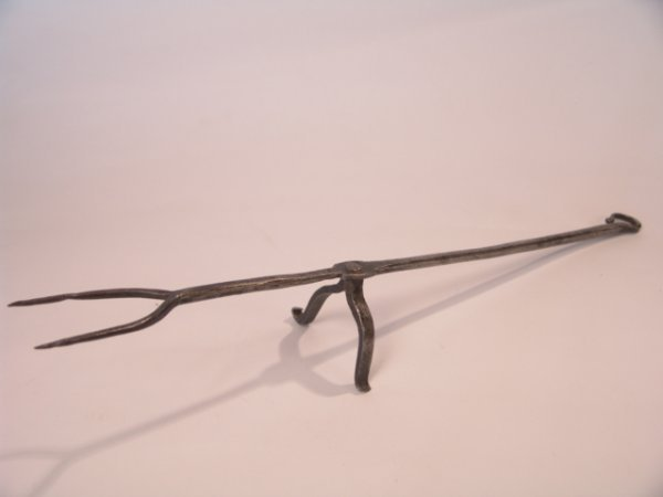 2024: 18TH CENT. HAND WROUGHT IRON FORK ON REST