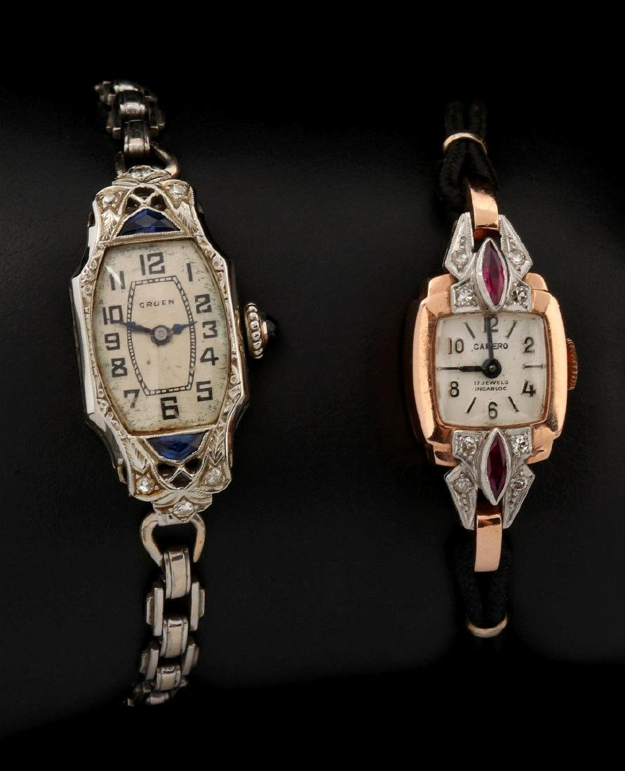 THREE VINTAGE 14K GOLD LADIES' WRIST WATCHES