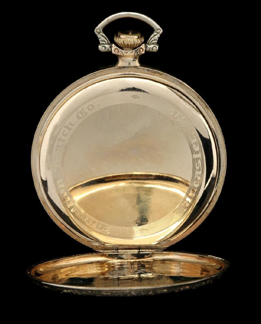 AN ANTIQUE 14K GOLD HAMILTON DRESS POCKET WATCH - 4