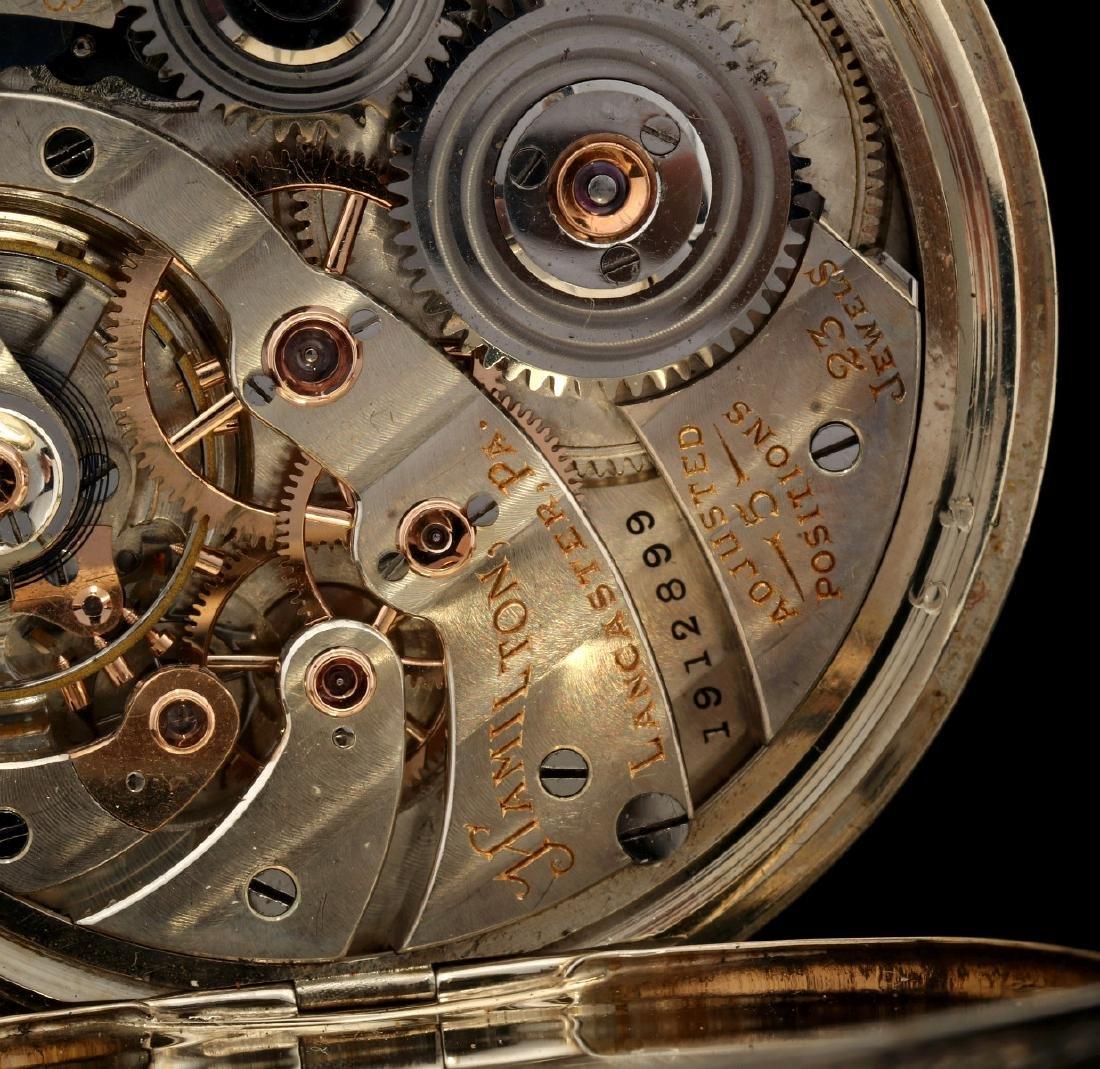 AN ANTIQUE 14K GOLD HAMILTON DRESS POCKET WATCH - 6