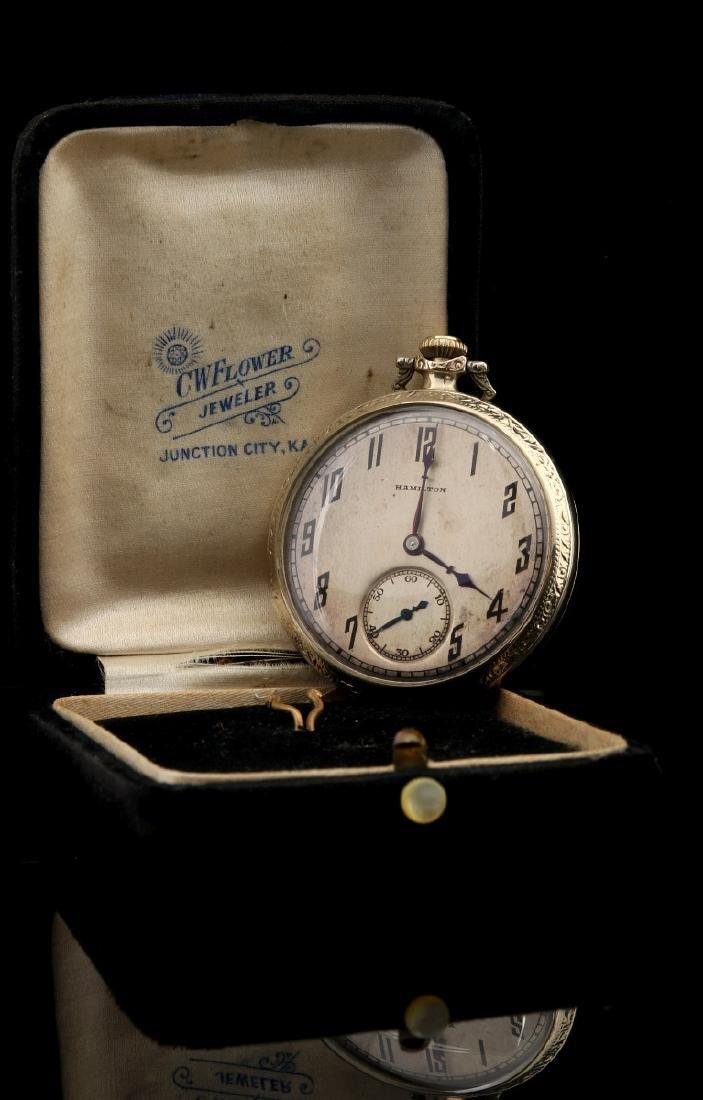 AN ANTIQUE 14K GOLD HAMILTON DRESS POCKET WATCH - 8