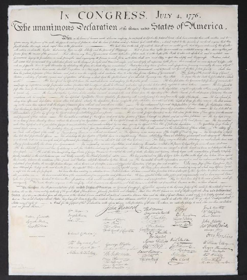 DECLARATION OF INDEPENDENCE ANASTATIC FAC-SIMILE