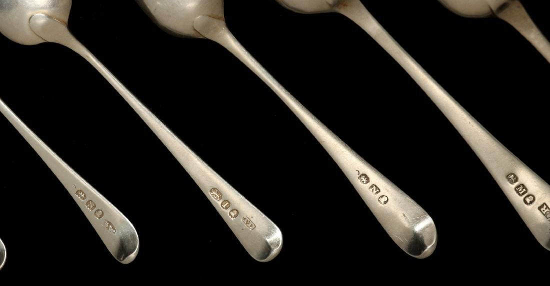 A COLLECTION OF GEORGIAN STERLING SPOONS C. 1800 - 10