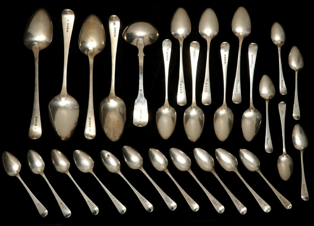 A COLLECTION OF GEORGIAN STERLING SPOONS C. 1800 - 9