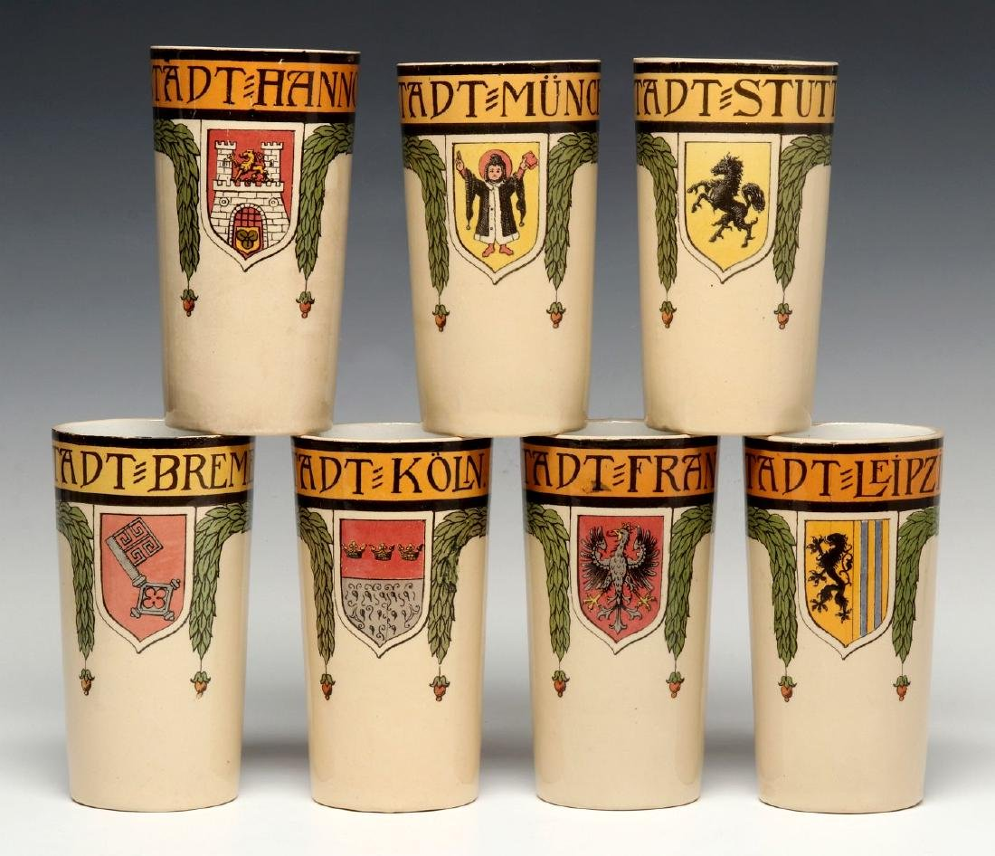 A METTLACH PUG MASTER STEIN AND TWELVE TUMBLERS - 8