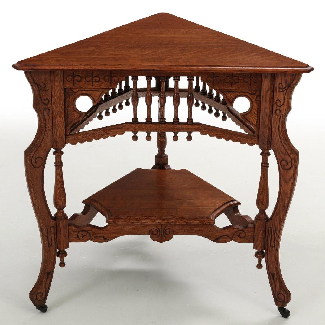 AMERICAN OAK STICK & BALL TRIPARTITE STAND C. 1890