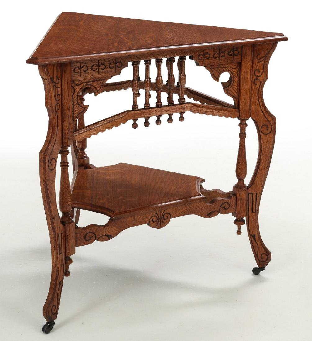 AMERICAN OAK STICK & BALL TRIPARTITE STAND C. 1890 - 7