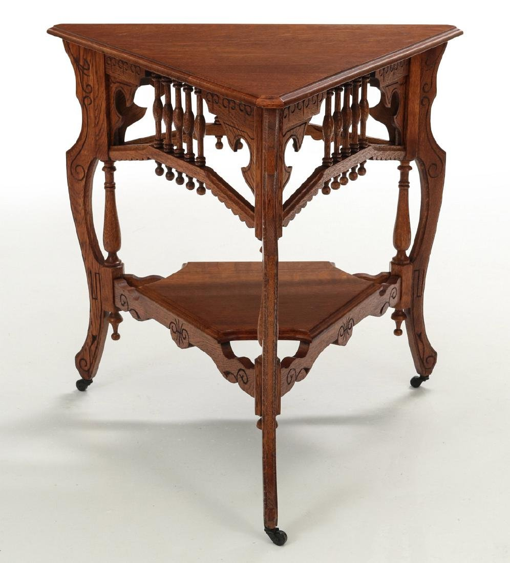 AMERICAN OAK STICK & BALL TRIPARTITE STAND C. 1890 - 8