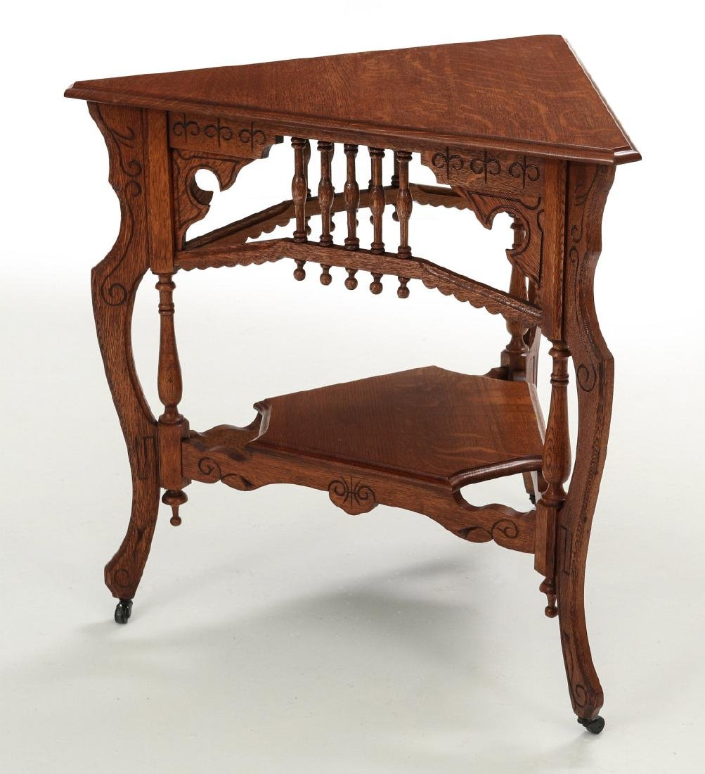 AMERICAN OAK STICK & BALL TRIPARTITE STAND C. 1890 - 9