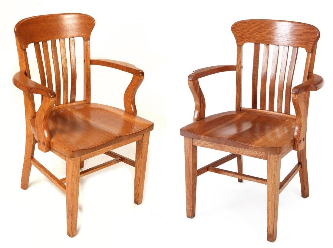 TWO CIRCA 1900 AMERICAN OAK ARM CHAIRS