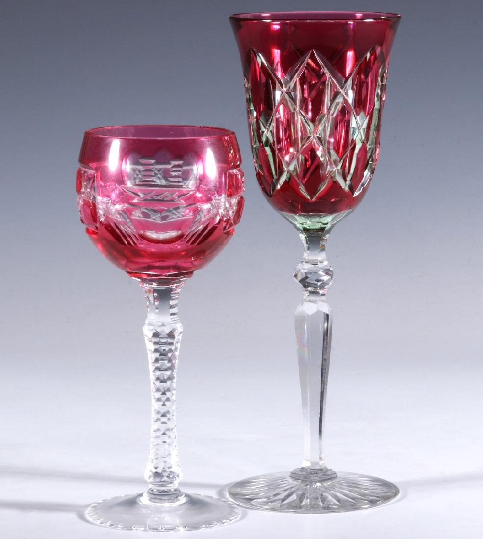 A DAISY AND BUTTON CRANBERRY CUT TO CLEAR GOBLET
