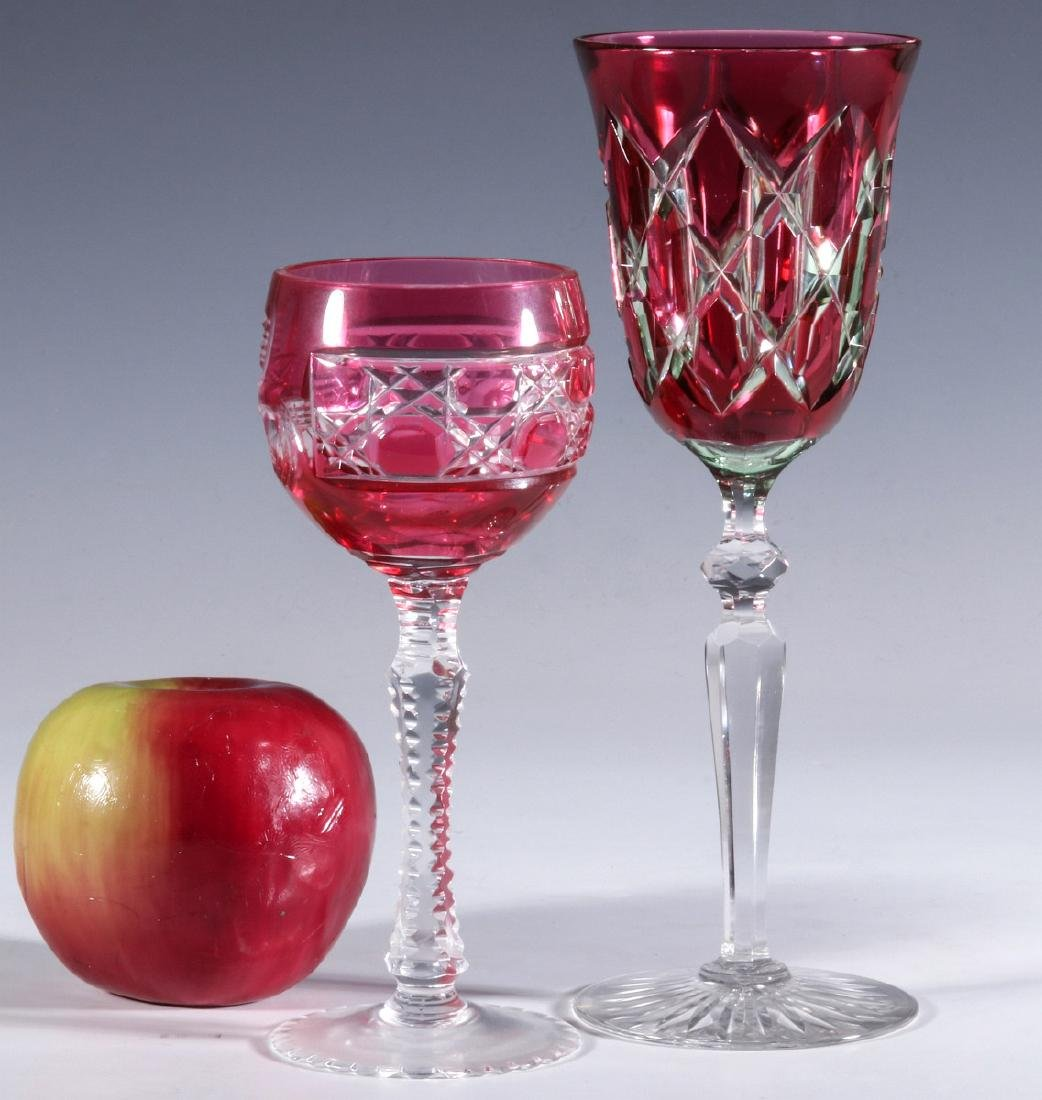 A DAISY AND BUTTON CRANBERRY CUT TO CLEAR GOBLET - 8
