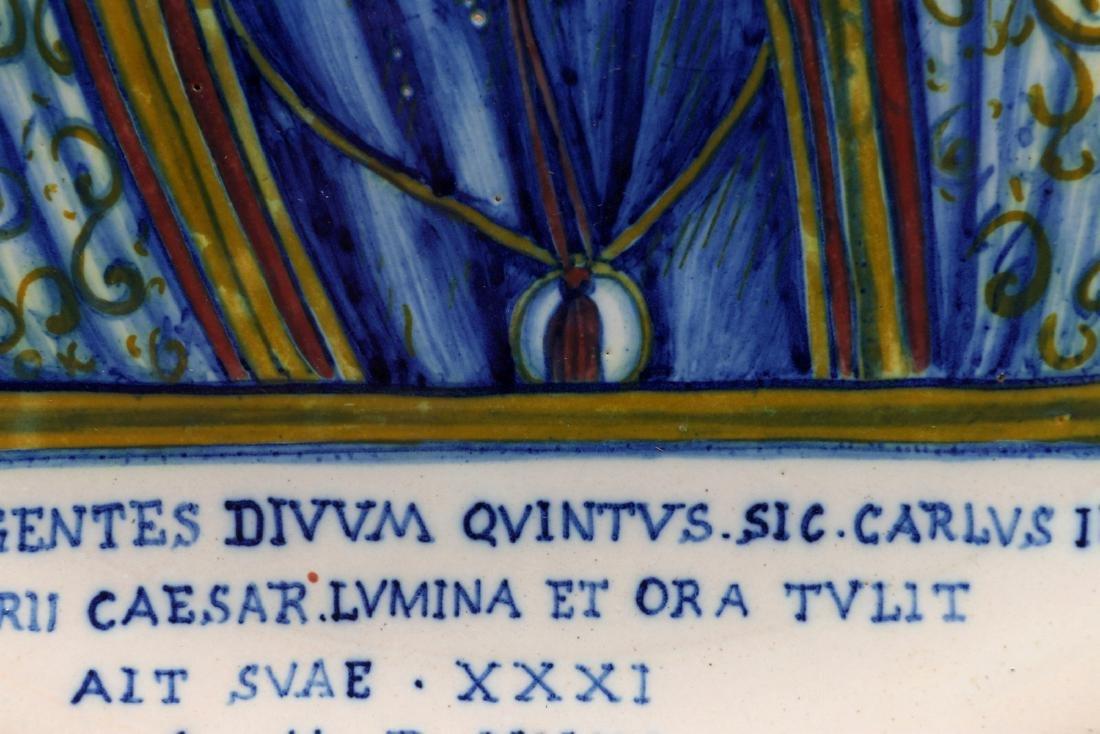A MIDDLE 19TH C. ITALIAN MAIOLICA FAIENCE PLAQUE - 8
