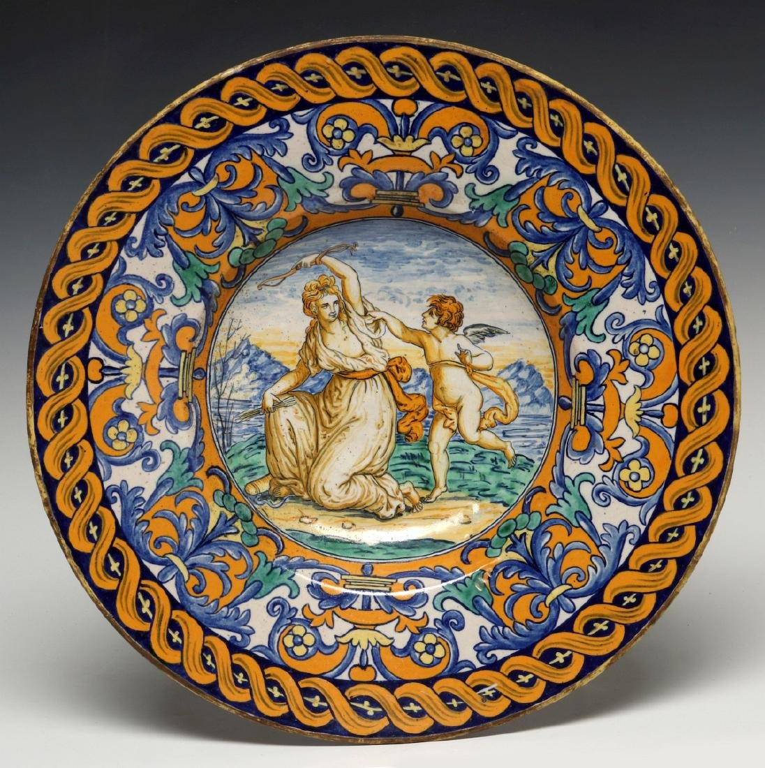 A MIDDLE 19TH C. ITALIAN MAIOLICA FAIENCE CHARGER