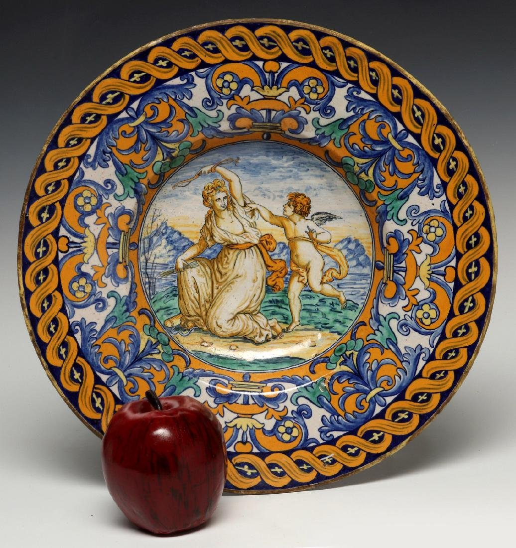 A MIDDLE 19TH C. ITALIAN MAIOLICA FAIENCE CHARGER - 2