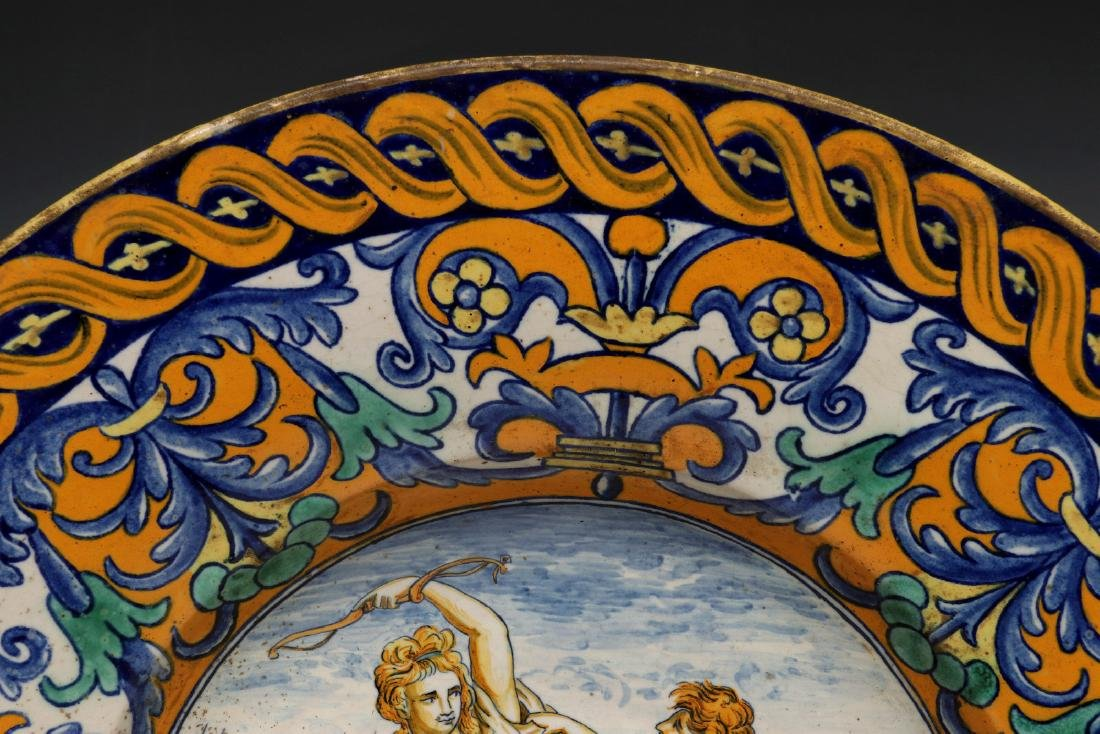 A MIDDLE 19TH C. ITALIAN MAIOLICA FAIENCE CHARGER - 4