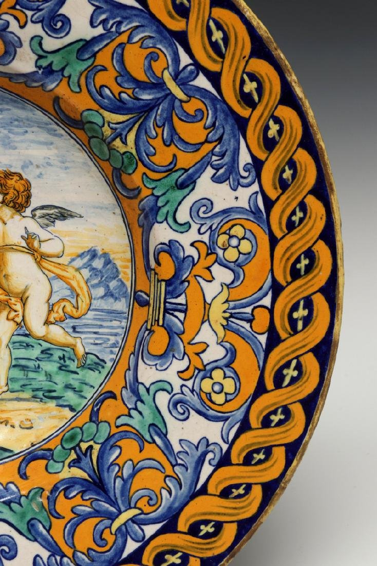 A MIDDLE 19TH C. ITALIAN MAIOLICA FAIENCE CHARGER - 5