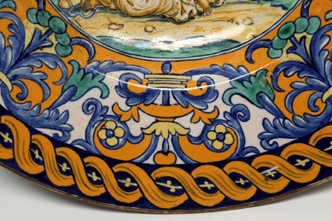 A MIDDLE 19TH C. ITALIAN MAIOLICA FAIENCE CHARGER - 6