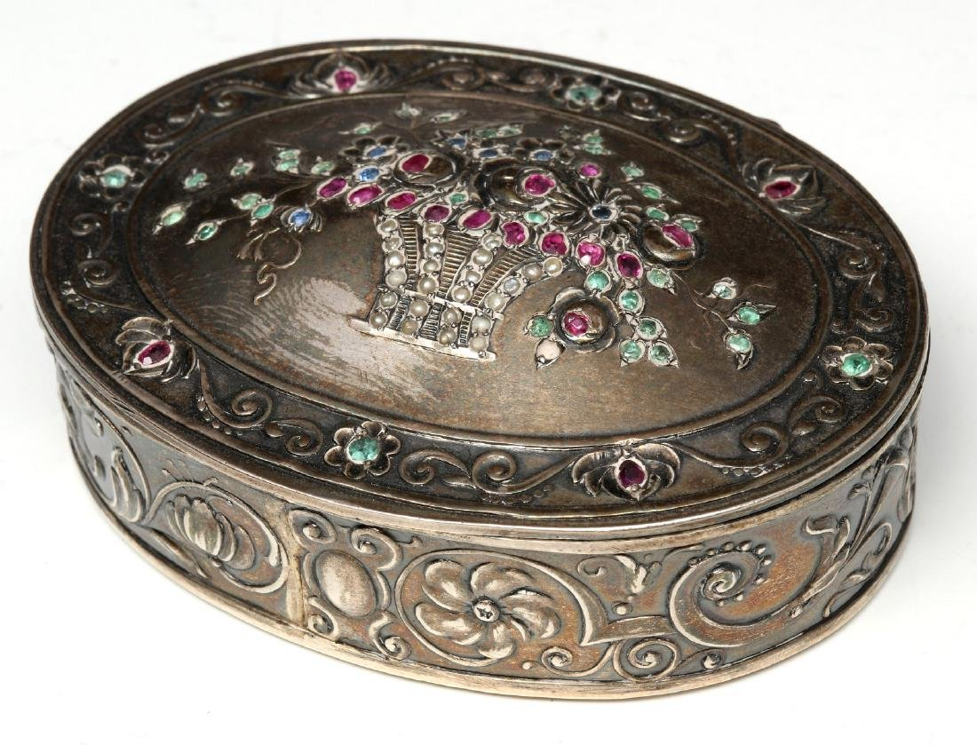 A FRENCH SILVER BOX SET WITH GEMSTONES AND PEARLS
