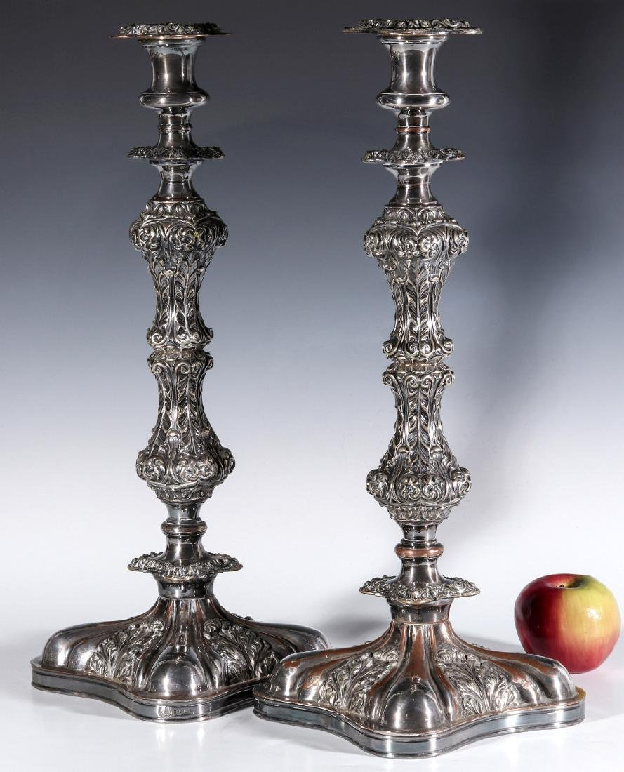A PAIR ENGLISH SILVER PLATED ROCOCO CANDLESTICKS - 10