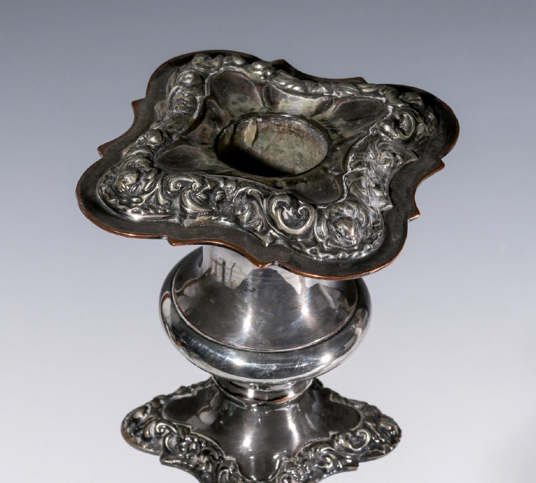 A PAIR ENGLISH SILVER PLATED ROCOCO CANDLESTICKS - 2