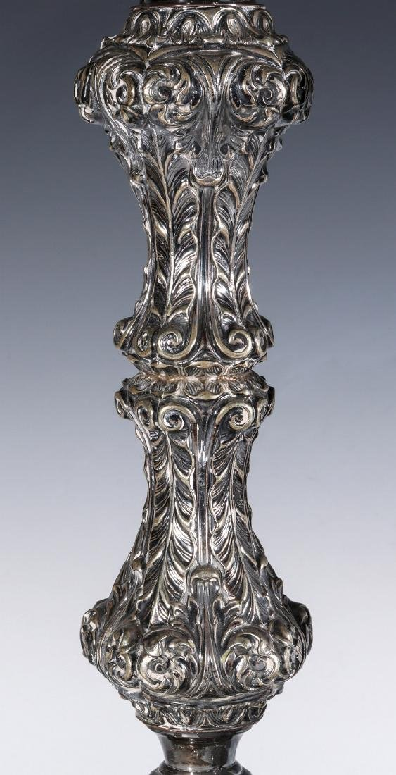 A PAIR ENGLISH SILVER PLATED ROCOCO CANDLESTICKS - 5
